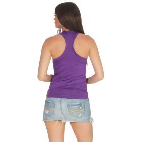 Jela London Damen Basic Tank-Top kurz Stretch, Lila Violett 34-38
