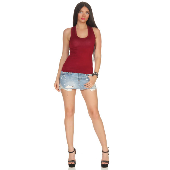 Jela London Damen Basic Tank-Top kurz Stretch, Bordeaux Weinrot 34-38
