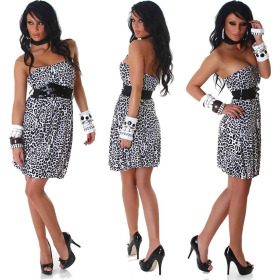 StyleLightOne Damen Bandeau Kleid Leopard Stretch Cocktail (34-38)