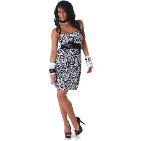 StyleLightOne Damen Bandeau Kleid Leopard Stretch Gürtel Weiß 34 36 38