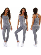 SL1 Damen Fitness Sport-Set Stretch Tank-Top & Leggings 36, Grau