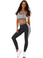 SL1 Damen Fitness Set Sport Zweiteiler Stretch Leggings & Top, Grau 36