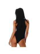 SL1 Damen Sexy Body Schnürung Schlitz Stretch Ripp, Schwarz, 32 34 (S)
