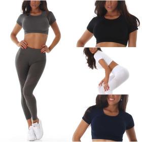 Jela London Damen Fitness Set Crop-Top & High-Waist...