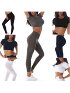 Jela London Damen Fitness Set Crop-Top & High-Waist Leggings (32-36)