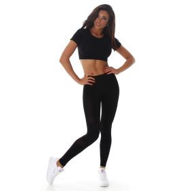 Jela London Damen Sport-Set Crop-Top & High-Waist Leggings, Schwarz 32-34