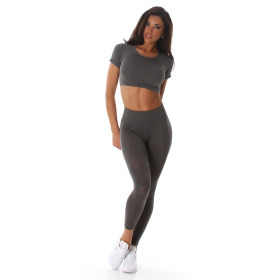 Jela London Damen Sport-Set Crop-Top & High-Waist Leggings, Grau 32-34