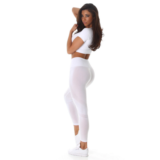 Jela London Damen Sport-Set Crop-Top & High-Waist Leggings, Weiß 32-36
