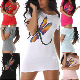 SL1 Damen Sexy Glitzer T-Shirt Longshirt Stretch...
