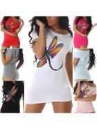 SL1 Damen Sexy Glitzer T-Shirt Longshirt Stretch One-Shoulder (36-40)
