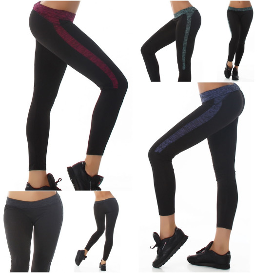 SL1 Damen Fitness-Leggings Sportleggins Tights Streifen (34-38)