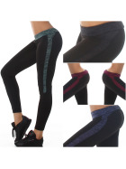 SL1 Damen Fitness-Leggings Sportleggins Tights Streifen (34-38)