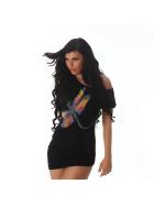 Jela London Sexy Glitzer T-Shirt Stretch Asymmetrisch, Schwarz 36 38 40