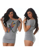 Jela London Sexy Glitzer T-Shirt Stretch Asymmetrisch, Grau 36 38 40