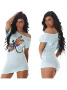 Jela London Sexy Glitzer T-Shirt Stretch Asymmetrisch, Türkis 36 38 40