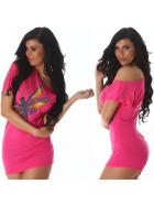 Jela London Sexy Glitzer T-Shirt Stretch Asymmetrisch, Pink 36 38 40
