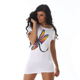 Jela London Sexy Glitzer T-Shirt Stretch Asymmetrisch, Weiß 36 38 40