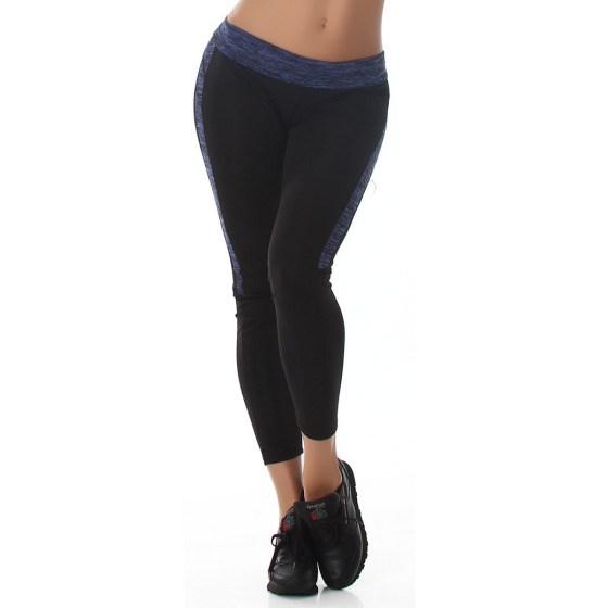 Damen Fitness-Leggings Sportleggins Tights Streifen, Blau 34 (SM)