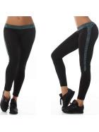 Damen Fitness-Leggings Sportleggins Tights Streifen, Grün 38 (LXL)