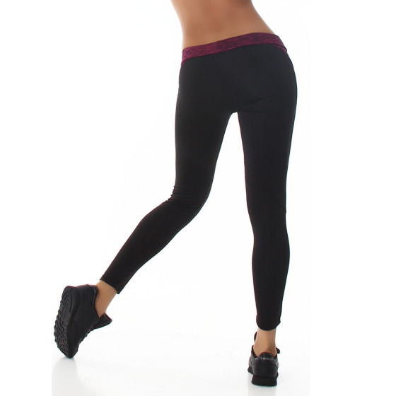 Damen Fitness-Leggings Sportleggins Tights Streifen, Rot 38 (LXL)