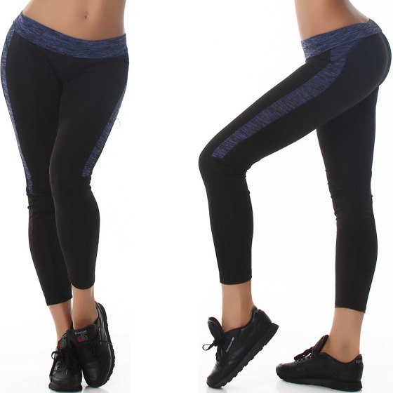 Damen Fitness-Leggings Sportleggins Tights Streifen, Blau 38 (LXL)