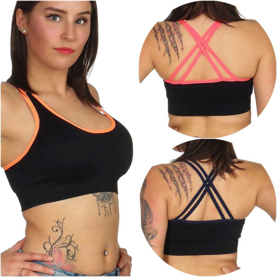 SL1 Damen Fitness Crop-Top Sport-BH Kompression Pads (32-36, 65-75 A/B/C)