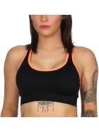 SL1 Damen Fitness Crop-Top Sport-BH Kompression Pads, Schwarz Neon-Orange
