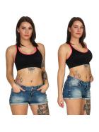 SL1 Damen Fitness Crop-Top Sport-BH Kompression Pads, Schwarz Neon-Apricot