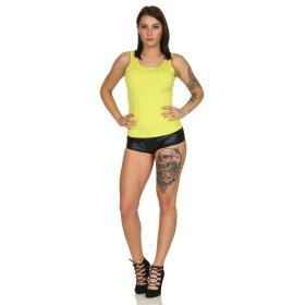 SL1 Damen Tank-Top Häkel-Spitze Rücken Ripp Stretch, Gelb 40 (L)