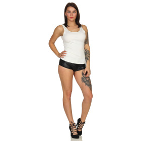 SL1 Damen Tank-Top Häkel-Spitze Rücken Ripp Stretch, Weiß 40 (L)