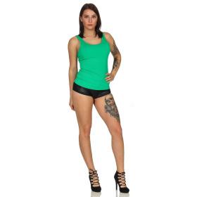 SL1 Damen Tank-Top Häkel-Spitze Rücken Ripp Stretch, Grün 36 (S)