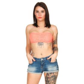 StyleLightOne Damen Bandeau-Top Netz Spitze Stretch, 32 34 36 Orange
