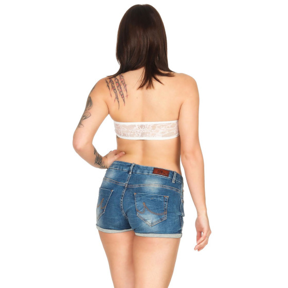 StyleLightOne Damen Bandeau-Top Netz Spitze Stretch, 32 34 36 Creme