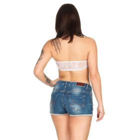 StyleLightOne Damen Bandeau-Top Netz Spitze Stretch, 32 34 36 Weiß