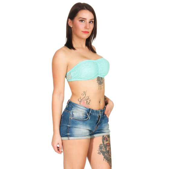 StyleLightOne Damen Bandeau-Top Netz Spitze Stretch, 32 34 36 Türkis