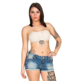 StyleLightOne Damen Bandeau-Top Netz Spitze Stretch, 32 34 36 Beige