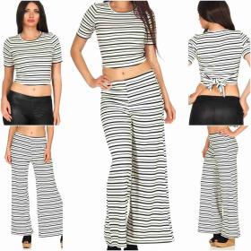 SL1 Damen Zweiteiler T-Shirt High-Waist Palazzohose...