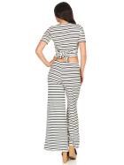 SL1 Damen Zweiteiler T-Shirt Palazzohose Schlag Streifen Ripp 34 (S)
