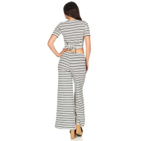 SL1 Damen Zweiteiler T-Shirt Palazzohose Schlag Streifen Ripp 36 (M)