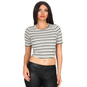 SL1 Damen Kurzarm T-Shirt Streifen Slim-Fit Bänder Ripp-Optik 36 (M)