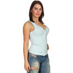 SL1 Damen Tank-Top V-Ausschnitt Zierleiste Ripp Stretch, Babyblau 38 M