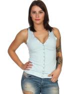 SL1 Damen Tank-Top V-Ausschnitt Zierleiste Ripp Stretch, Babyblau 40 L