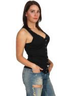 SL1 Damen Tank-Top V-Ausschnitt Zierleiste Ripp Stretch, Schwarz 38 M