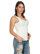 SL1 Damen Tank-Top V-Ausschnitt Zierleiste Ripp Stretch, Weiß 38 M