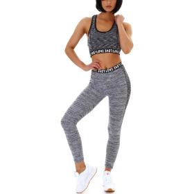 SL1 Damen Fitness Set Sport Zweiteiler Stretch Leggings & Top Schwarz Hellgrau 36