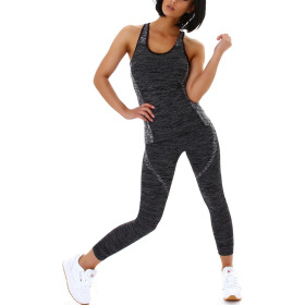 SL1 Damen Fitness Sport-Set Stretch Tank-Top & Leggings 36, Schwarz Schwarz