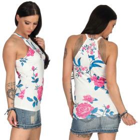 SL1 Damen Top Sommer Geblümt Halsband Stretch Racerback, Weiß Pink S 36