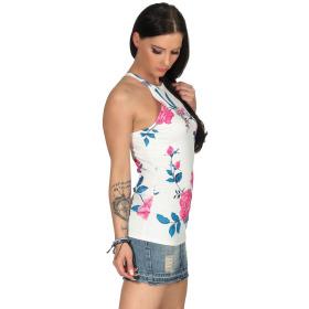 SL1 Damen Top Sommer Geblümt Halsband Stretch Racerback, Weiß Pink M 38
