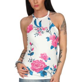 SL1 Damen Top Sommer Geblümt Halsband Stretch Racerback, Weiß Pink L 40