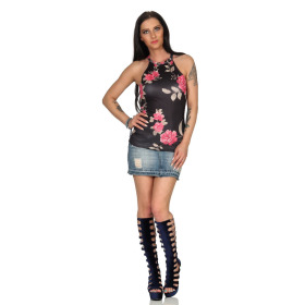 SL1 Damen Top Sommer Geblümt Halsband Stretch Racerback, Schwarz Pink L 40